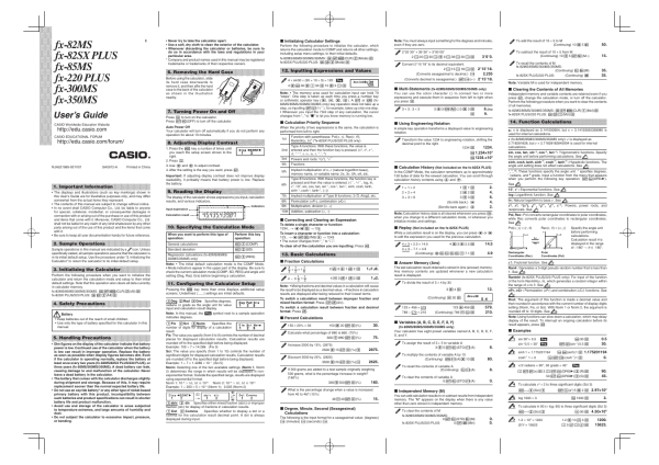 Casio FX-300MS User Manual | 2 pages | Also for: fx-82MS ...