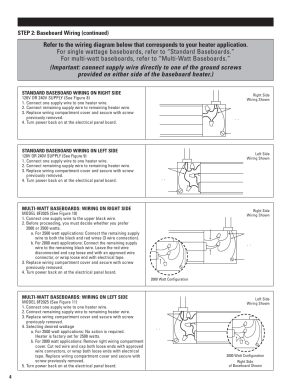 Installation instructions, Step 2: baseboard wiring (continued) | Cadet 5F12508 User Manual