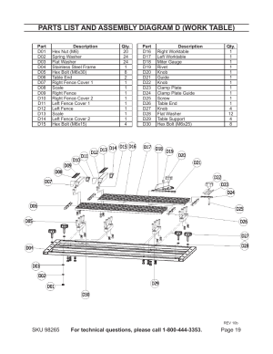 Parts list and assembly diagram d (work table) | Chicago