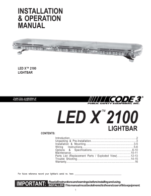 Code 3 2100 User Manual | 16 pages