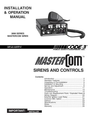 Code 3 MasterCom B Series User Manual | 26 pages