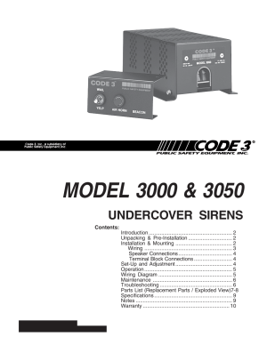 Code 3 Undercover Siren User Manual | 10 pages