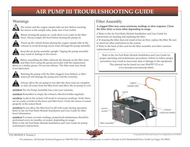 Dynojet Air Pump III Troubleshooting Guide User Manual  30 pages