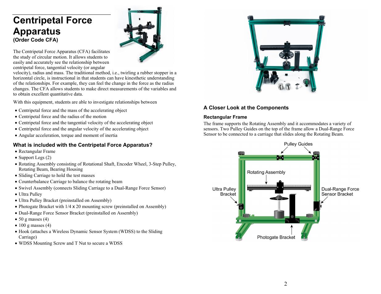 Vernier Centripetal Force Apparatus User Manual