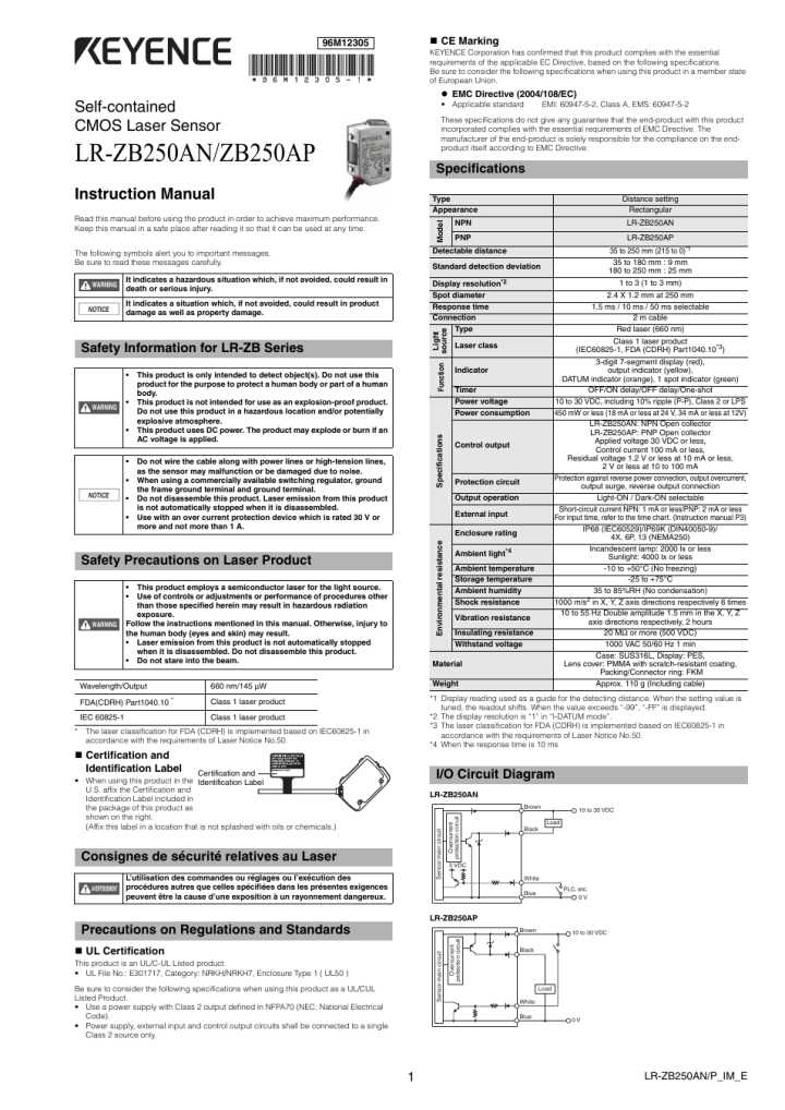 Keyence lv 21a User manual