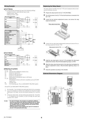 Wiring example, Replacing the relay board, External dimensions diagram   KEYENCE GLT11R User