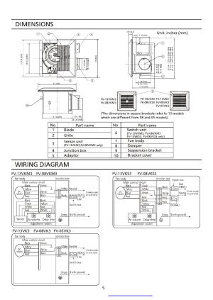 Dimensions, Wiring diagram | Panasonic FV08VK3 User