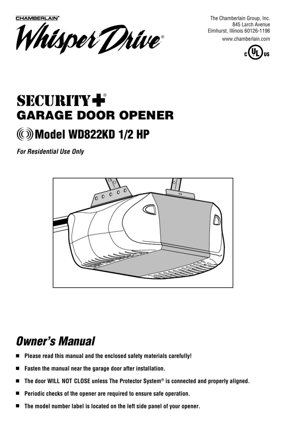 Chamberlain Whisper Drive Garage Door Opener Manual