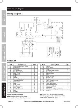 Wiring diagram, Parts list | Chicago Electric Wire Feed