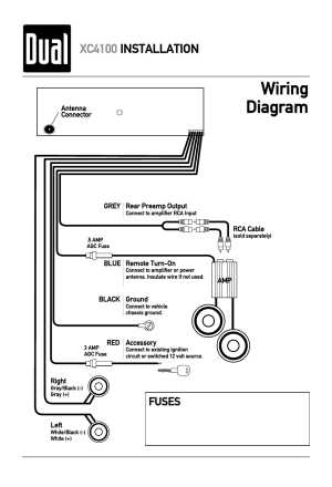 Wiring diagram, Xc4100 installation, Fuses | Dual XC4100 User Manual | Page 4  8