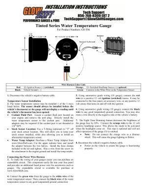 GlowShift Water Temperature Gauge User Manual | 2 pages