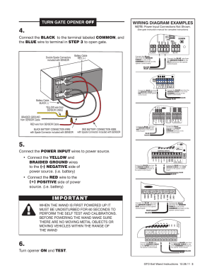 Important, Turn gate opener off, Wiring diagram examples