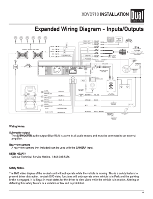 Expanded wiring diagram  inputsoutputs, Xdvd710 installation | Dual XDVD710 User Manual | Page