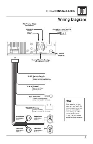 Wiring diagram, Xhd6430 installation, Fuse | Dual XHD6430