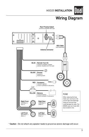 Wiring diagram, Mxd25 installation, Fuse | Dual MXD25 User