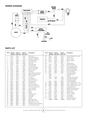 Wiring diagram, Parts list | Enerco MH175KT User Manual
