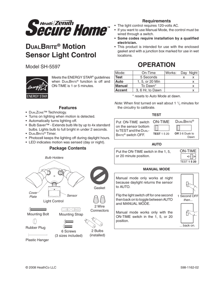 Heath Zenith Dualbrite Motion Sensor Light Control Sh Page on Zenith Motion Sensor Light Manual