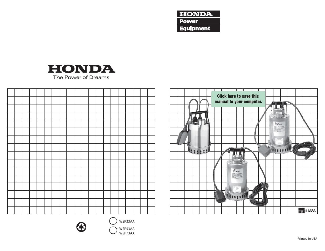 Honda Submersible Pump Wsp33aa User Manual