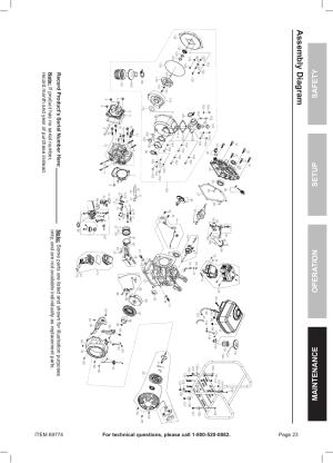 Assembly diagram, Safety opera tion maintenance setup