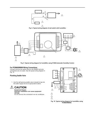 Caution, Plumbing saddle valve, He365a,b powered flowthrough humidifier | Honeywell ENVIRACAIRE