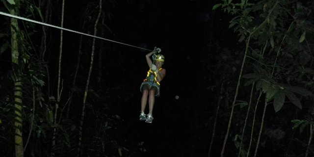 Zip lining at night