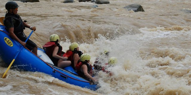 Group white water rafting.