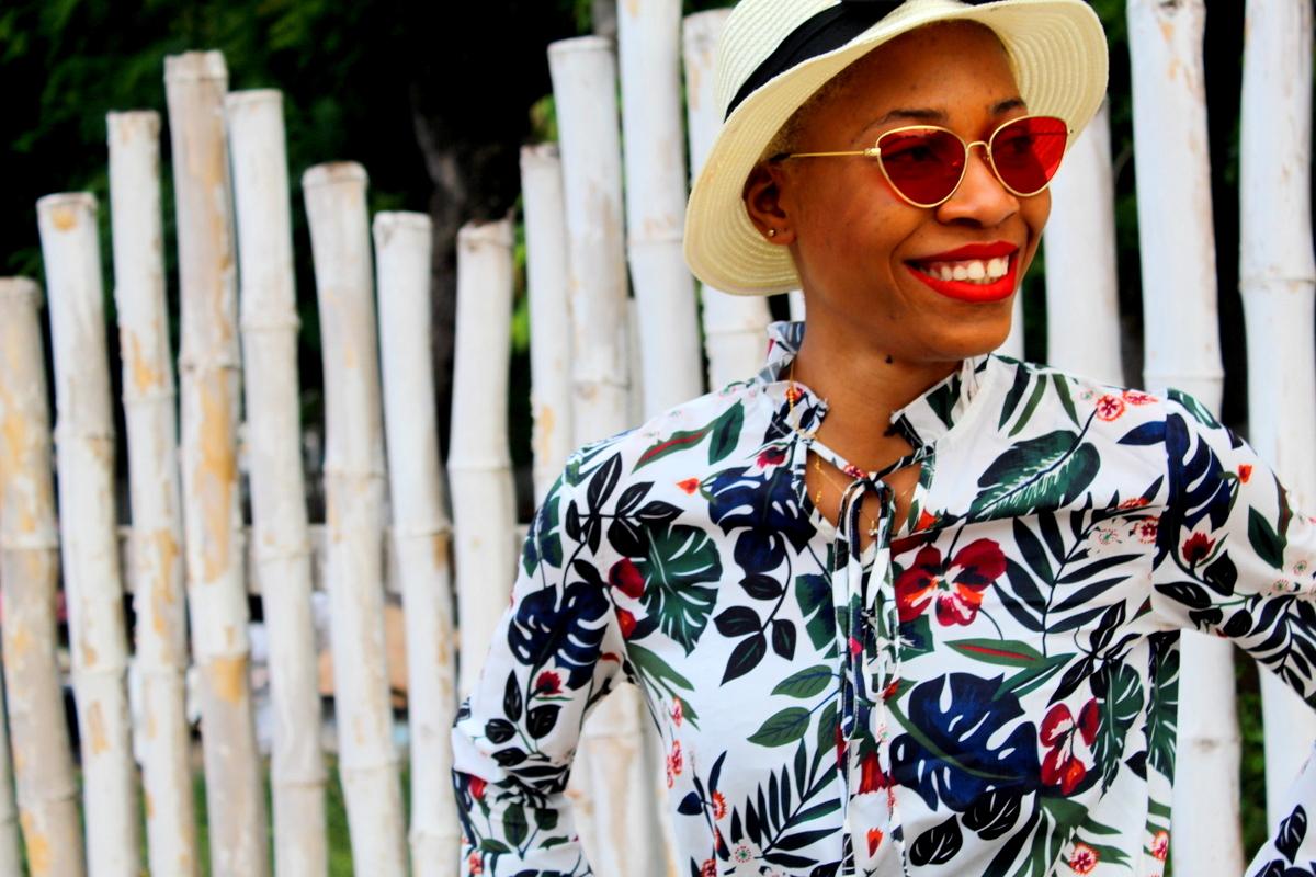 La belle Robe imprimé tropical verte Look du jour Blog Mode Togo Shein Aliexpress Togolaise Ivoirienne