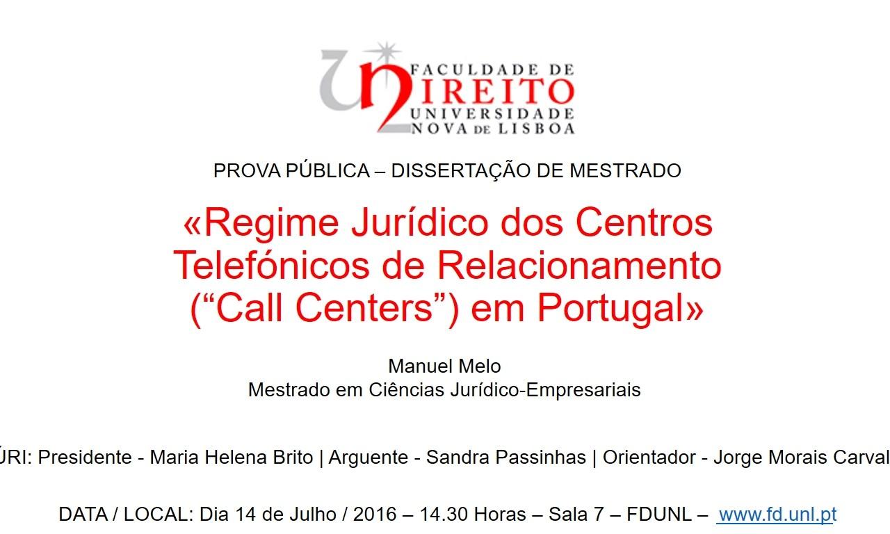 Dissertação de Mestrado – «Regime Jurídico dos Call Centers»