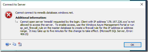 Azure PowerTip: Fixing ''IP Address Is Not Allowed to Access