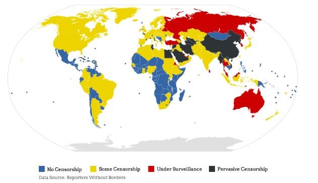 El mapa de la censura en Internet