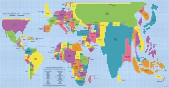 Visualización de la población mundial en un mapa