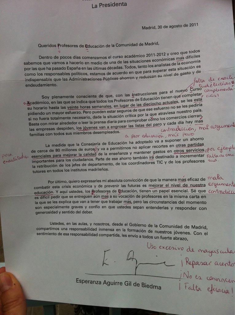 Carta de Esperanza Aguirre a los profesores de la Comunidad de Madrid