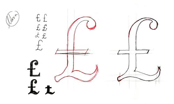 Valentina, tipografía de Pedro Arilla. Boceto de libra