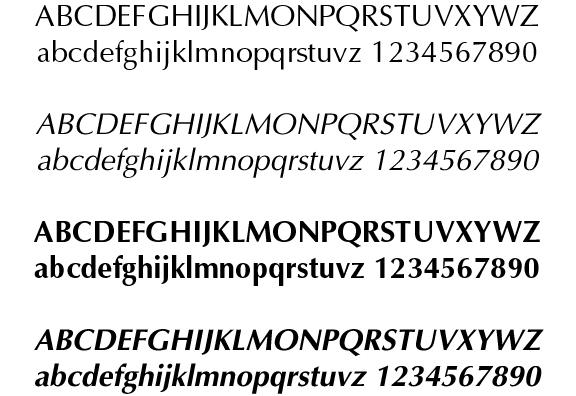 Cuatro pesos de la tipografía Optima, de Hermann Zapf