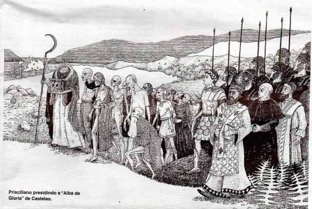 Prisciliano presidiendo el 'Alba de Gloria', de Castelao