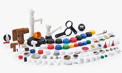 closures and accessories available for plastic containers includine screw caps or tamper evident lids and lids suitable for metal containers