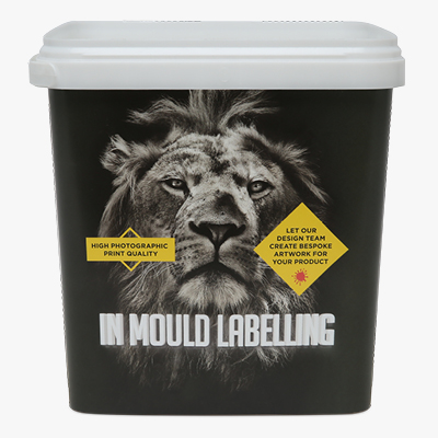 plastic buckets with in mould labelling printing, design and artwork available from manupak