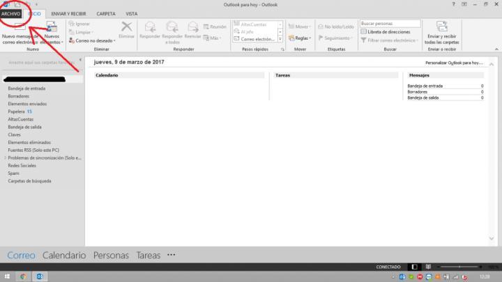Tiempo de sincronización de correos en Outlook