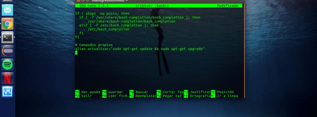 Crear comando personalizado para el terminal Linux