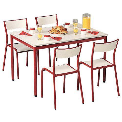 ensemble chaises et table rectangulaire plateau stratifie 4 places