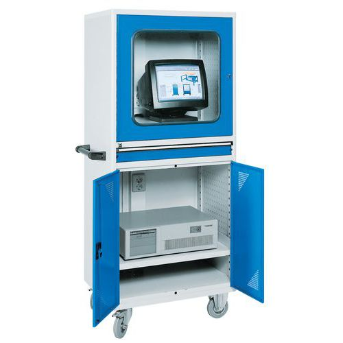 armoire informatique mobile pour ordinateur de bureau manutan fr
