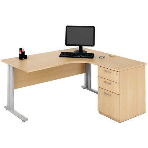 bureau compact avec caisson hetre manutan