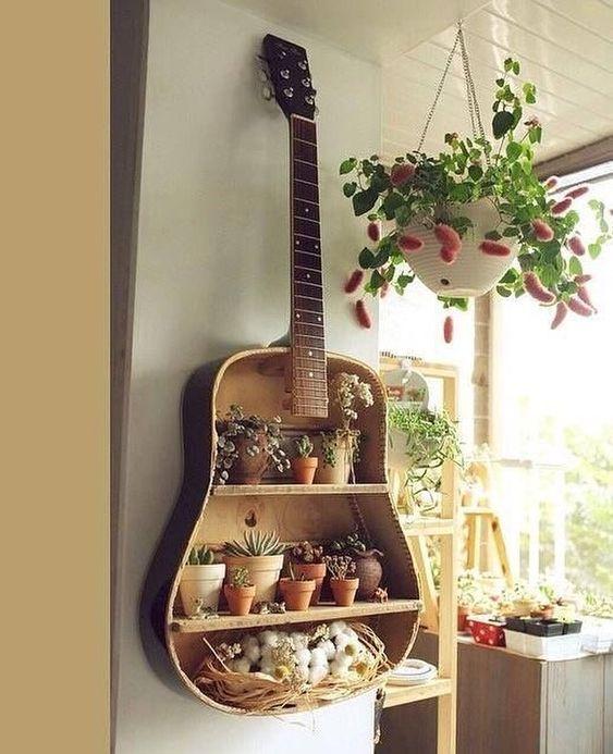 Guitar come plant shelf