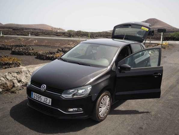 Notre voiture Goldcar louée à Lanzarote.