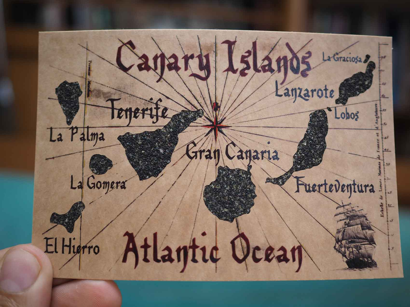 Carte postale représentant l'archipel des îles Canaries
