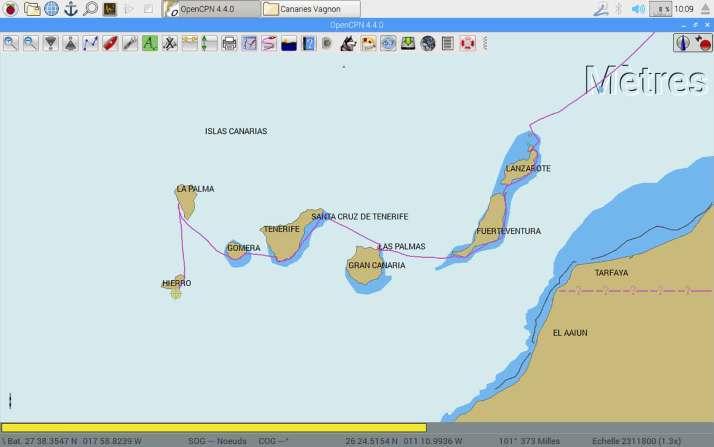 Trace GPS de notre route autour des îles Canaries.