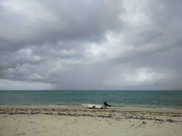 Damien faisant du kitesurf à la pointe nord-ouest de Tobago.