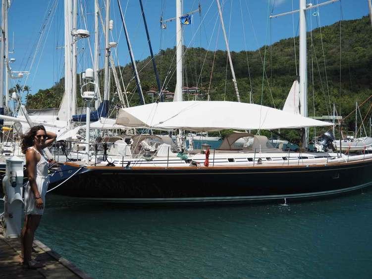 La jetée des beaux voiliers à Marigot Bay sur l'île de Sainte Lucie.