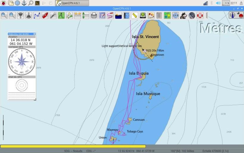 Carte de notre trajet dans les îles de Saint Vincent et les Grenadines.