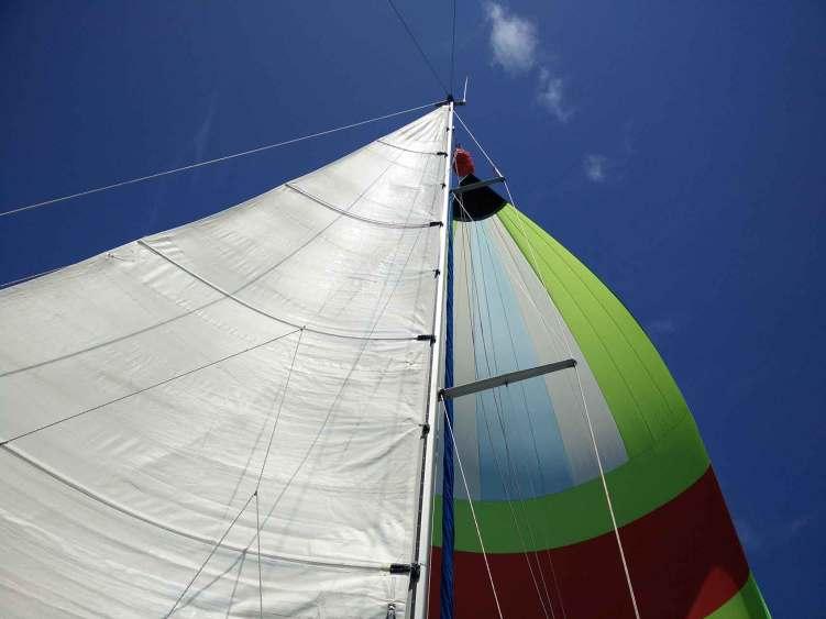 Navigation sous spi vers l'île de Saint Martin aux Petites Antilles.